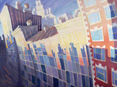 Greenwich Village Photograph - Sunset, Waverly Place, New York City, 1995 Oil On Canvas by Charlotte Johnson Wahl