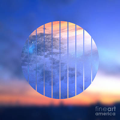 Gradations Digital Art - Sunset With Starry Starry Night Sky by Beverly Claire Kaiya