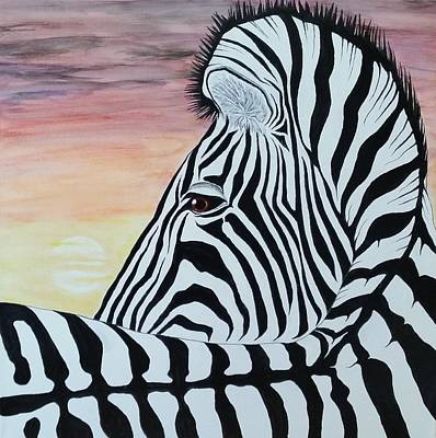 Steven White Mixed Media - Sunset Zebra by Steven White