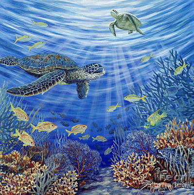 Green Sea Turtle Painting - Sunshine Reef by Danielle  Perry