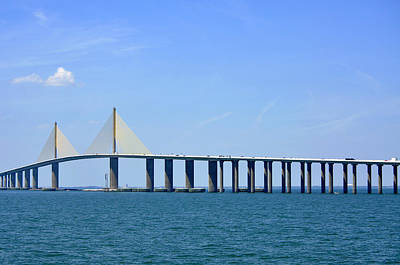 Sunshine Skyway Bridge II Tampa Bay Florida Usa Print by Sally Rockefeller