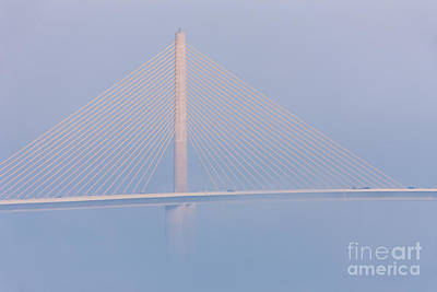 Sunshine Skyway Bridge Photograph - Sunshine Skyway Bridge In Fog II by Clarence Holmes