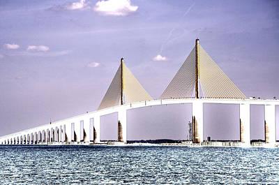 Sunshine Skyway Bridge Poster Look Tampa Bay Florida Usa Print by Sally Rockefeller