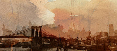 Sunsrise Over Brooklyn Bridge Print by Stefan Kuhn