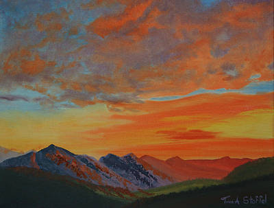 Orange Painting - Sunswept Mountains by Tina Stoffel