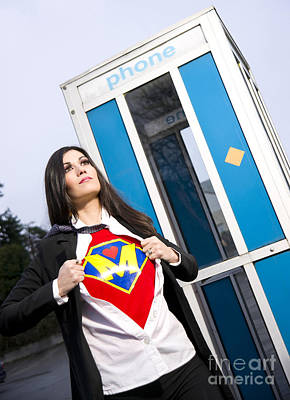 Super Mom Superhero Leaves Phone Booth Ready For Crimefighting Print by Christopher Boswell