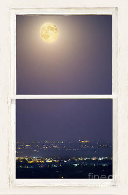 Full Moon Photograph - Super Moon Over City Lights View Through White Rustic Window by James BO  Insogna