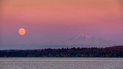 Super Moon Over Mount Baker Print by Pierre Leclerc Photography