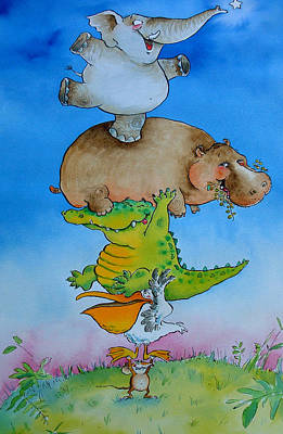 Hippopotamus Photograph - Super Mouse Pen & Ink And Wc On Paper by Maylee Christie