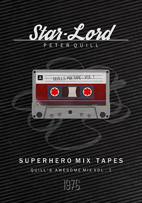 Superhero Mix Tapes - Star-lord Print by Alyn Spiller