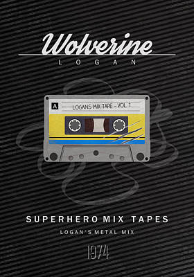 X-men Digital Art - Superhero Mix Tapes - Wolverine by Alyn Spiller