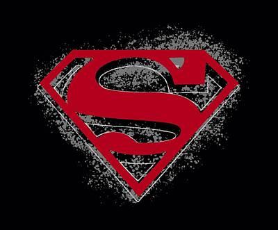 Halloween Digital Art - Superman - Hardcore Noir Shield by Brand A