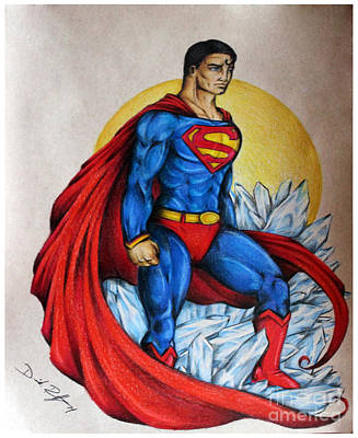 Super Hero Drawings Drawing - Superman Lives On by Derrick Rathgeber