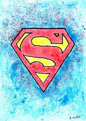 Super Hero Drawings Drawing - Superman Logo by Loren Hill