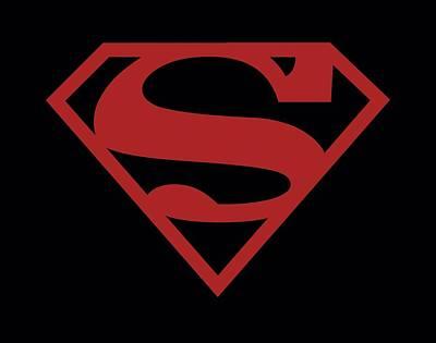 Halloween Digital Art - Superman - Red On Black Shield by Brand A