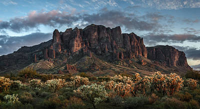 Cholla Photograph - Superstitions Mountains Sunset by Dave Dilli