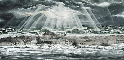 Hurricane Sandy Painting - Superstorm Sandy Sea Bright Nj by Ronnie Jackson