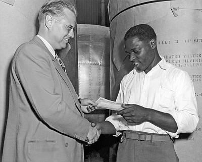Supervisor Rewards Worker Print by Underwood Archives