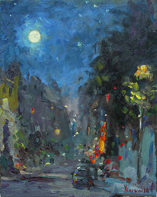 City At Night Painting - Supermoon 2014 by Ylli Haruni