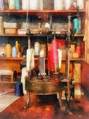 Supplies In Tailor Shop Print by Susan Savad