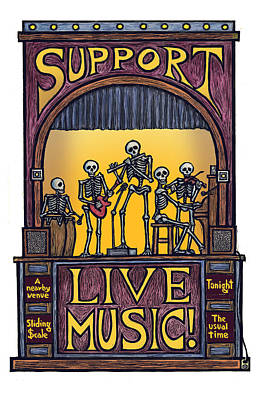 Support Live Music Print by Ricardo Levins Morales
