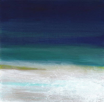 Surf And Sky- Abstract Beach Painting Print by Linda Woods