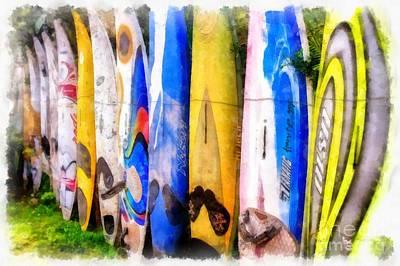 Surf Board Fence Maui Hawaii 3 Print by Edward Fielding