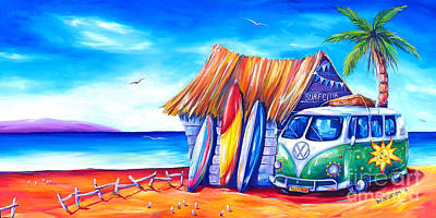 Surfboards Painting - Surf Club by Deb Broughton