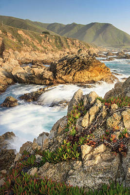 Of Big Sur Beach Photograph - Surf On Rocks Garrapata State Beach by Tom Norring