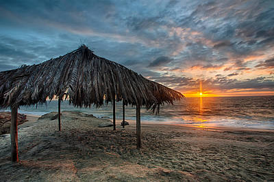 Surf Shack Sunset - Lrg Print Print by Peter Tellone