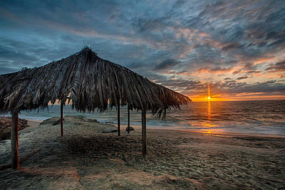 Surf Shack Sunset Print by Peter Tellone