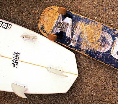 Asphalt Digital Art - Surf Skate Fins And Wheels by Ron Regalado