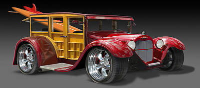 Street Rod Photograph - Surf Woody by Mike McGlothlen