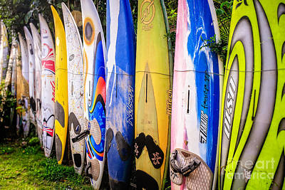 Surfboard Fence Maui Hawaii Print by Edward Fielding