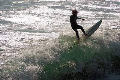 Surfer At Laguna Beach Print by Peter Menzel