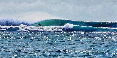 Bali Painting - Surfer At Padang Padang by Nathan Ledyard