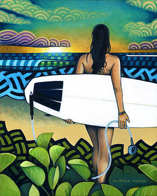 Surfer At Sunset Original by Nathan Miller