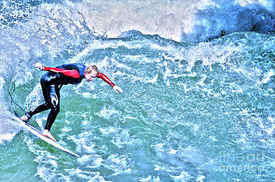 Muenchen Photograph - surfer in Eisbach River by Judith Katz