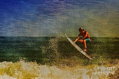 Surfer In Oil Print by Deborah Benoit