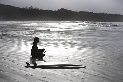 Surfer Meditating On Beach, Cox Bay Print by Deddeda