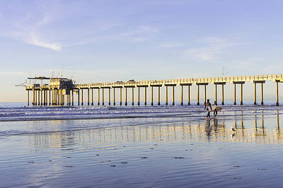 Piers Photograph - Surfers At La Jolla Shores Beach by Priya Ghose