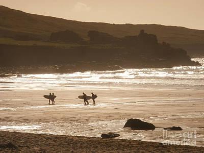 Surfers On Beach 02 Print by Pixel Chimp