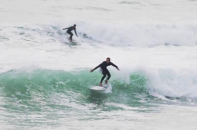 Surfers Riding Waves Tarifa, Costa De Print by Ben Welsh