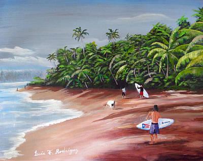 Surfing A La Rincon Original by Luis F Rodriguez