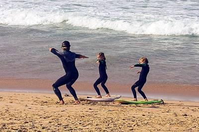 Surfing Lesson Print by Stuart Litoff