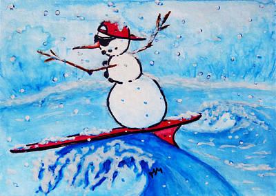 Baseball Card Painting - Surfing Snowman by Monique Morin Matson