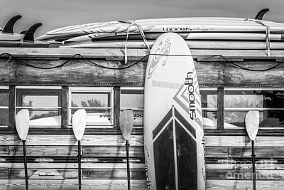 Surfs Up - Vintage Woodie Surf Bus - Florida - Black And White Print by Ian Monk