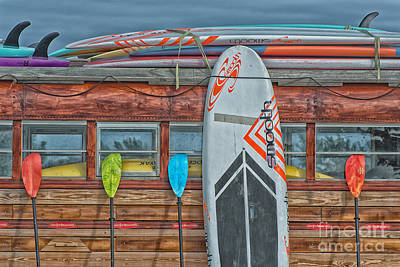 Bus Photograph - Surfs Up - Vintage Woodie Surf Bus - Florida - Hdr Style by Ian Monk