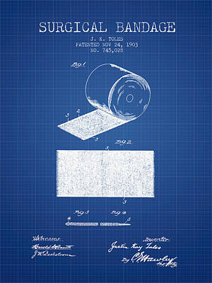 Surgical Bandage Patent From 1903- Blueprint Print by Aged Pixel