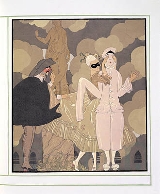 Pierrot Painting - Surprise by Georges Barbier